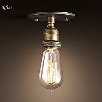 Fantastic Series Of Bare Bulb Filament Single Pendants Within Efinehome Efine 1 Light Simplicity Ceiling Lamp Lofe Vintage (Image 10 of 25)