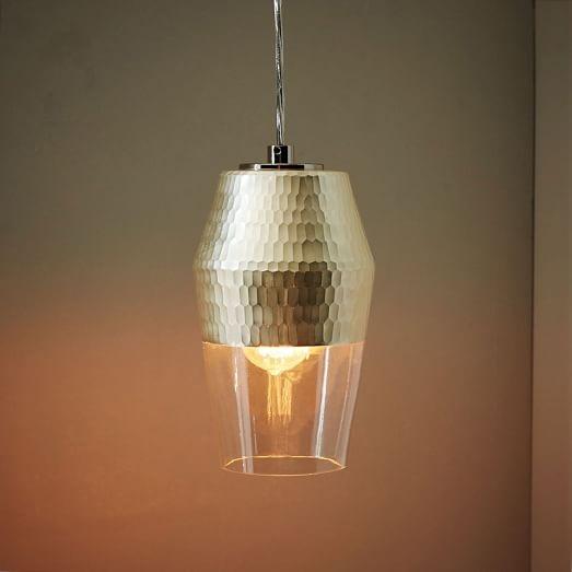 Fantastic Series Of Honeycomb Pendant Lights Regarding Metallic Honeycomb Glass Pendant Tall West Elm (Image 8 of 25)