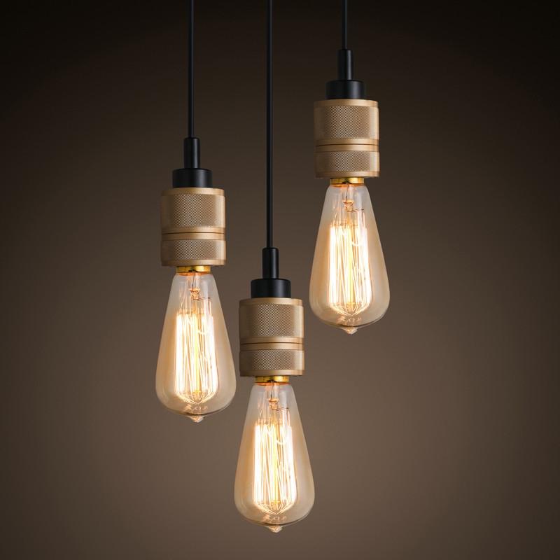Fantastic Series Of Three Light Bare Bulb Pendants Pertaining To Hooked Industrial Brass Single Bare Edison Bulb Pendant Light (Image 10 of 25)