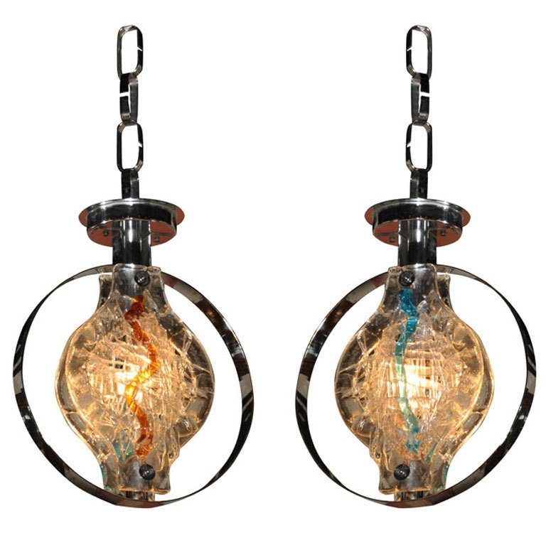 Fantastic Well Known Murano Glass Lighting Pendants Regarding Pair Of Murano Glass Pendant Lights Or Chandelier Saturday Sale (Image 14 of 25)