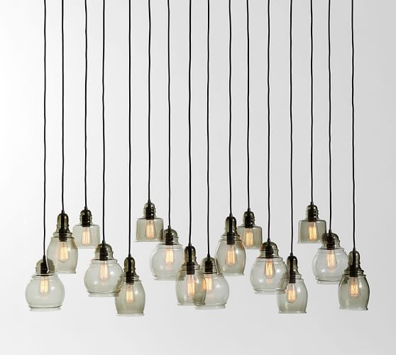Fantastic Well Known Paxton Pendant Lights Throughout Paxton Glass 16 Light Pendant Pottery Barn (Image 11 of 25)