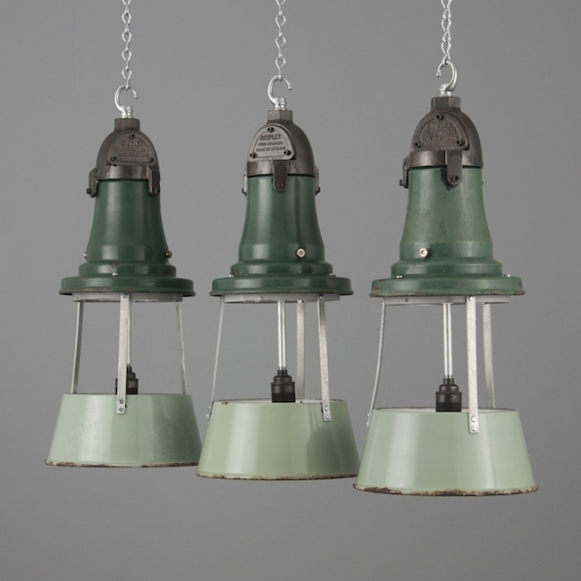 Fantastic Well Known Reclaimed Light Fittings Regarding A Group Of Dark Green Industrial Enamel Light Fittings Simplex (Image 14 of 25)