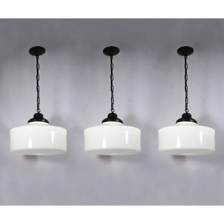 Fantastic Wellliked Milk Glass Pendant Light Fixtures Inside Three Matching Large Antique Art Deco Pendant Lights With Original (View 7 of 25)