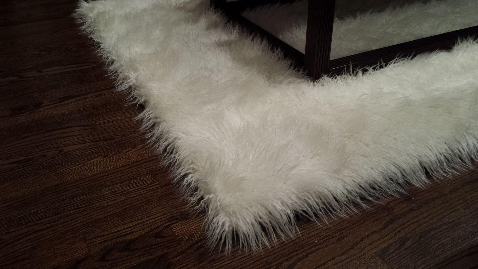 Faux Sheepskin Area Rug White Rugs Pinterest White Sheepskin Rug Inside Custom Made Area Rugs (Image 5 of 15)