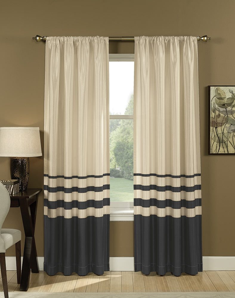 Faux Silk Stripe Curtains Intended For Stripe Curtains (Image 12 of 25)