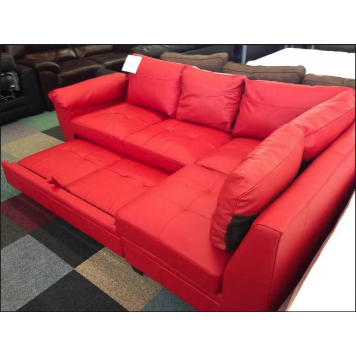 Fernando Leather Right Hand Sofa Bed Corner Group Black Regarding Leather Corner Sofa Bed (Image 4 of 15)
