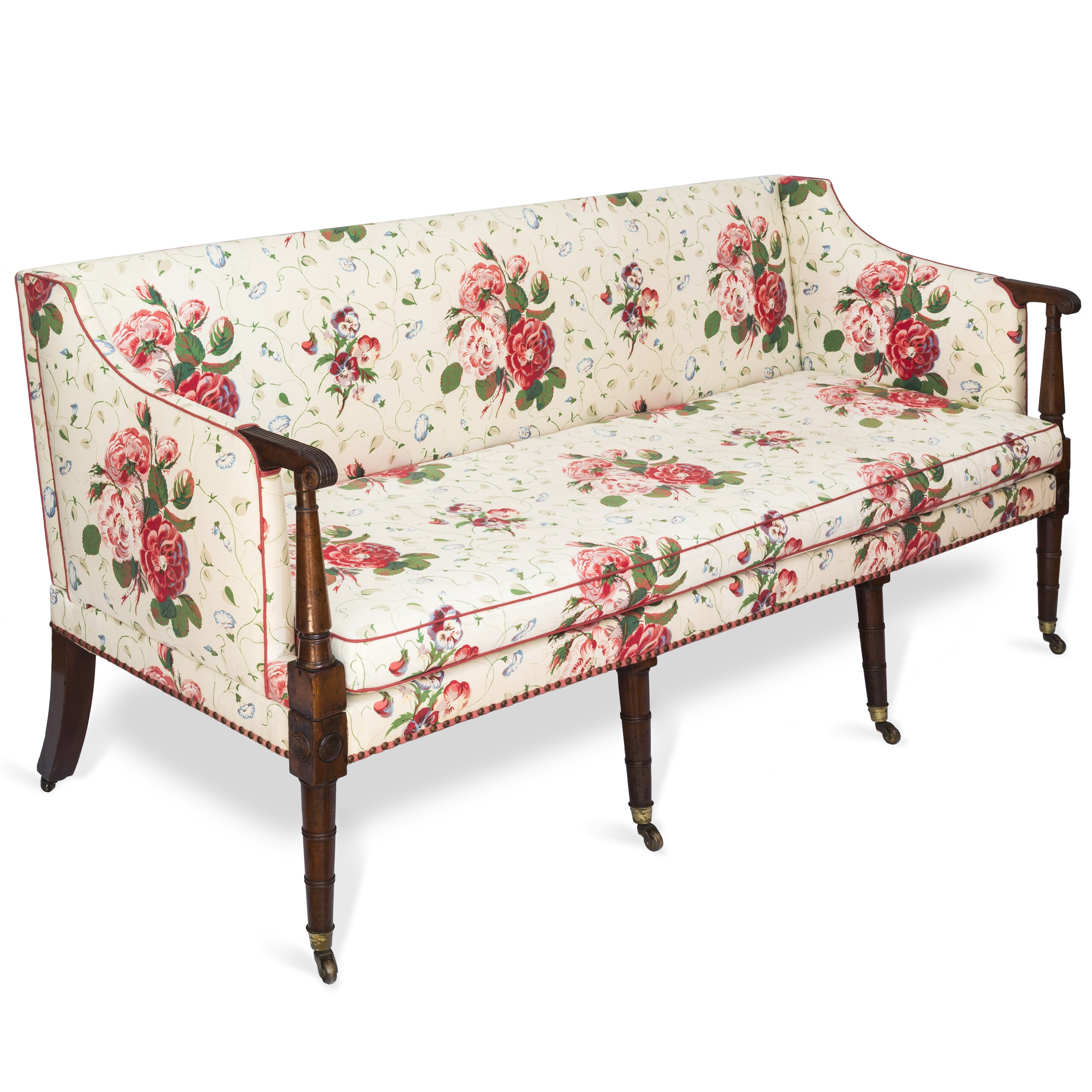 Fine George Iii Three Seater Mahogany Sofa Settee In Colefax Regarding Chintz Covered Sofas (Image 6 of 15)
