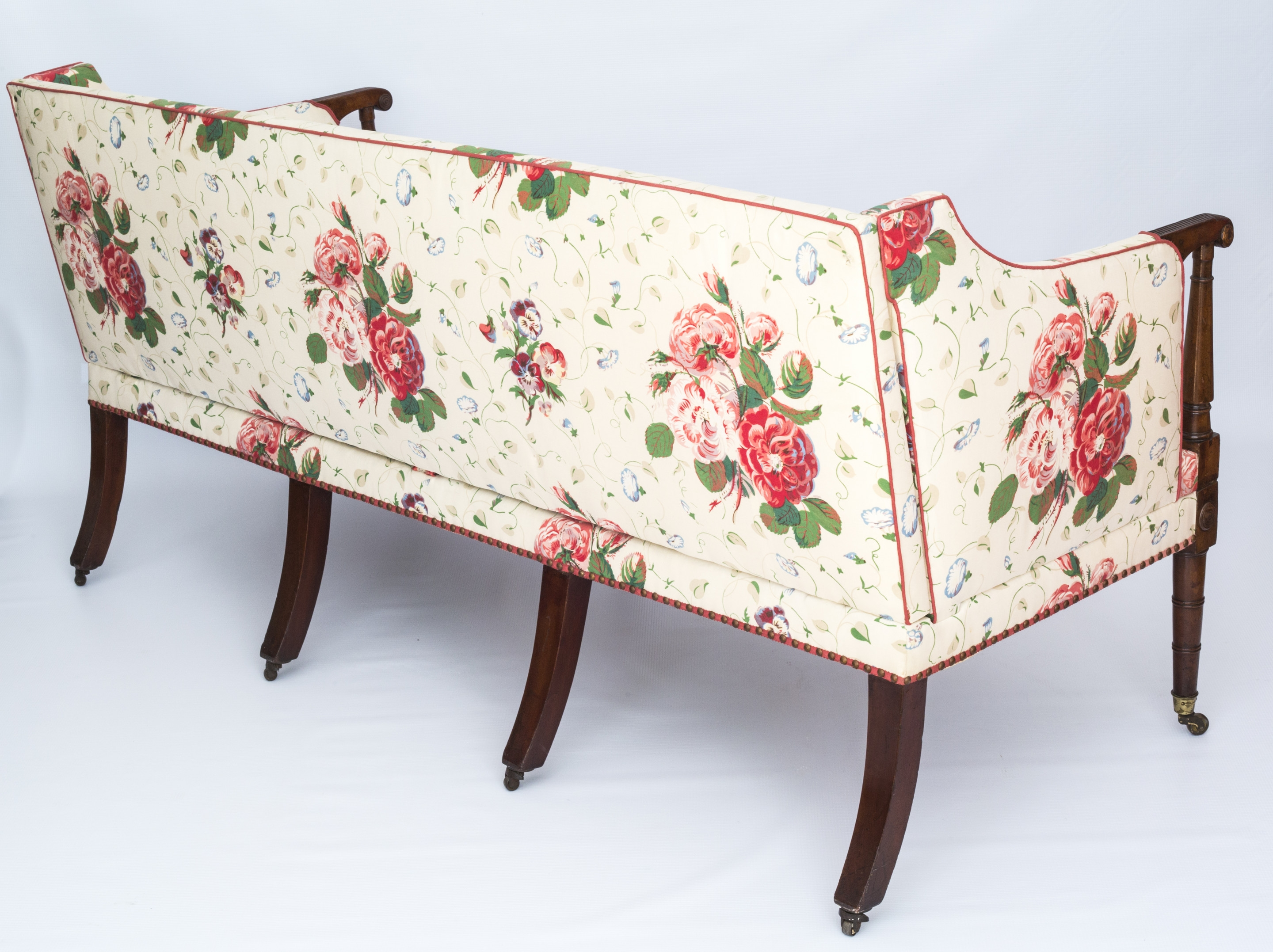 Fine George Iii Three Seater Mahogany Sofa Settee In Colefax Regarding Chintz Sofas (Image 8 of 15)