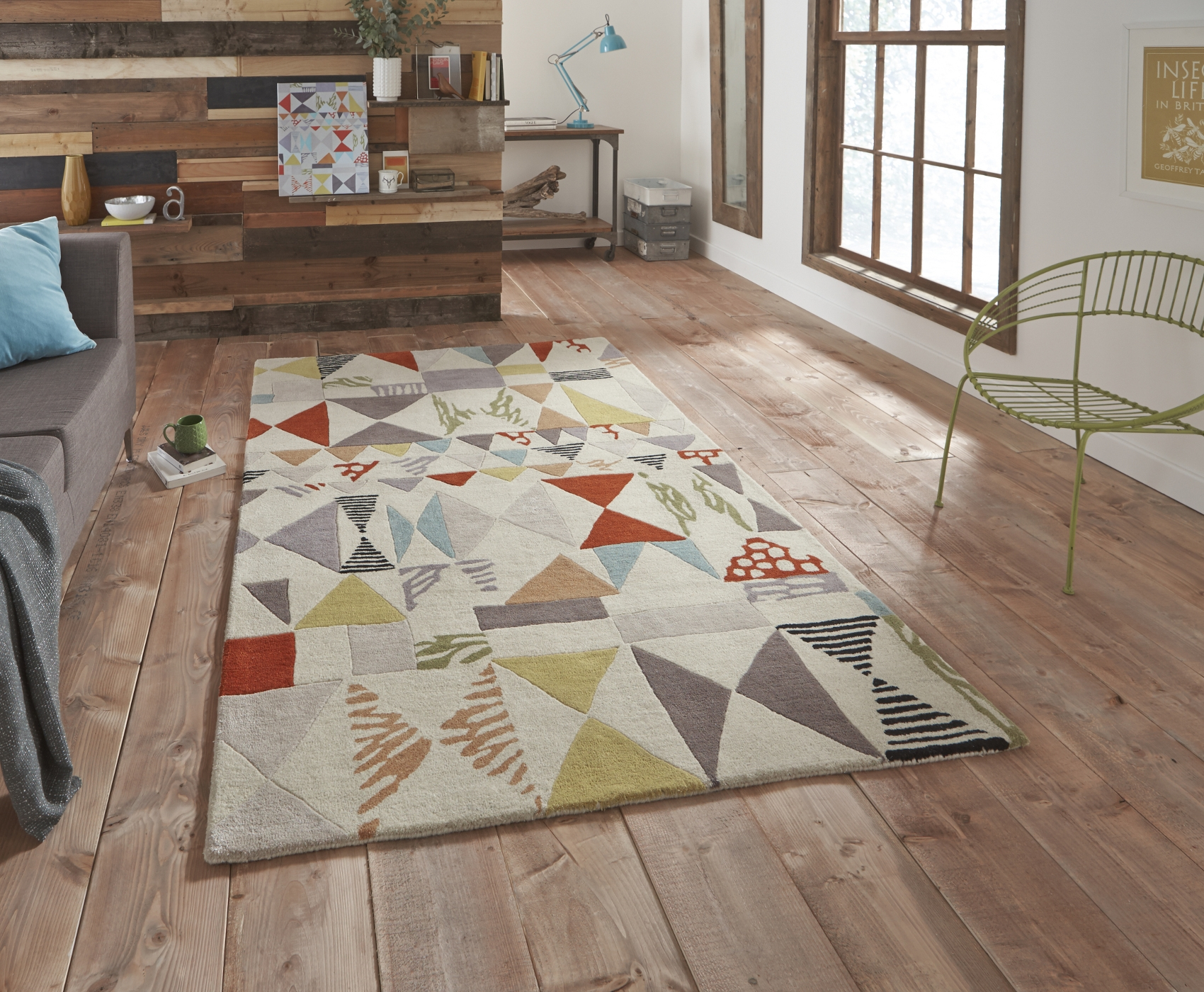 Fiona Howard Designer Rug Wool Blend Large Modern Retro Pattern For Large Wool Rugs (Image 2 of 15)