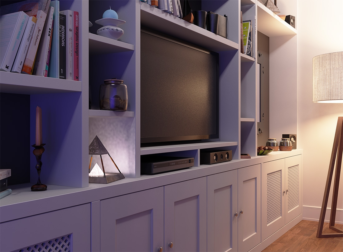 Fitted Bookcase Around Tv Unit Chelsea Throughout Built In Wardrobes With Tv Space (View 6 of 15)