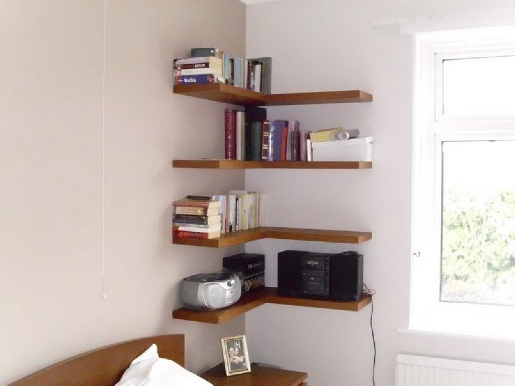Floating Corner Shelves Wood Beadboard Vs Wainscoting With Corner Shelf For Dvd Player (View 3 of 15)