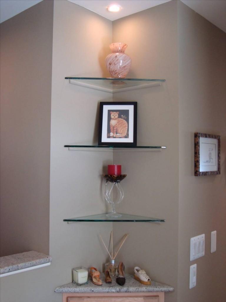 Floating Glass Corner Shelf Glass Corner Shelf As Bathing Regarding Floating Corner Glass Shelves (Image 3 of 15)