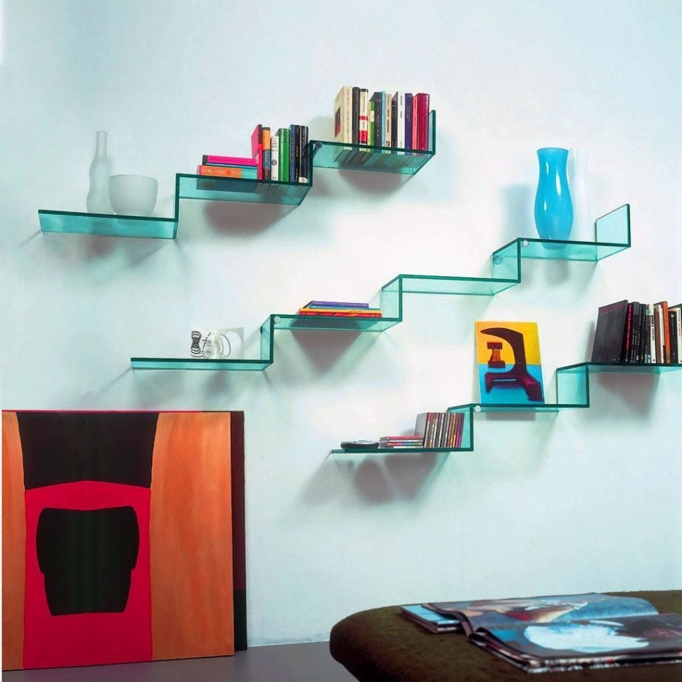 Floating Glass Shelf For Elegant And Minimalist Storage Home Throughout Floating Glass Shelves (Image 4 of 15)