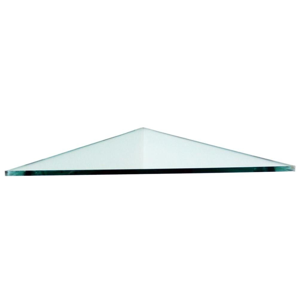 Floating Glass Shelves 38 In Triangle Glass Corner Shelf Price With Floating Corner Glass Shelves (Image 7 of 15)