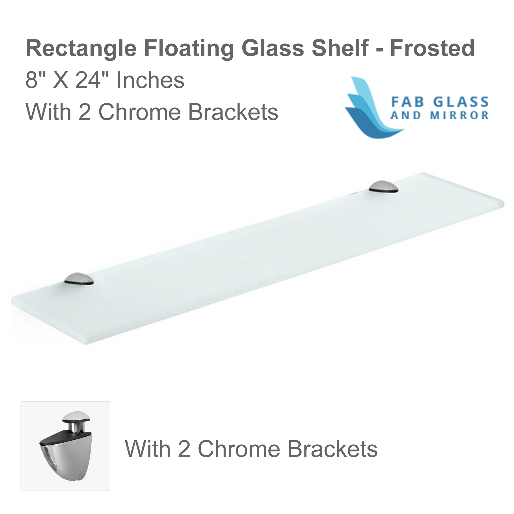 Floating Glass Shelves Corner 6×6 Inch With Chrome Brackets Clear With Frosted Glass Shelves (Image 4 of 15)