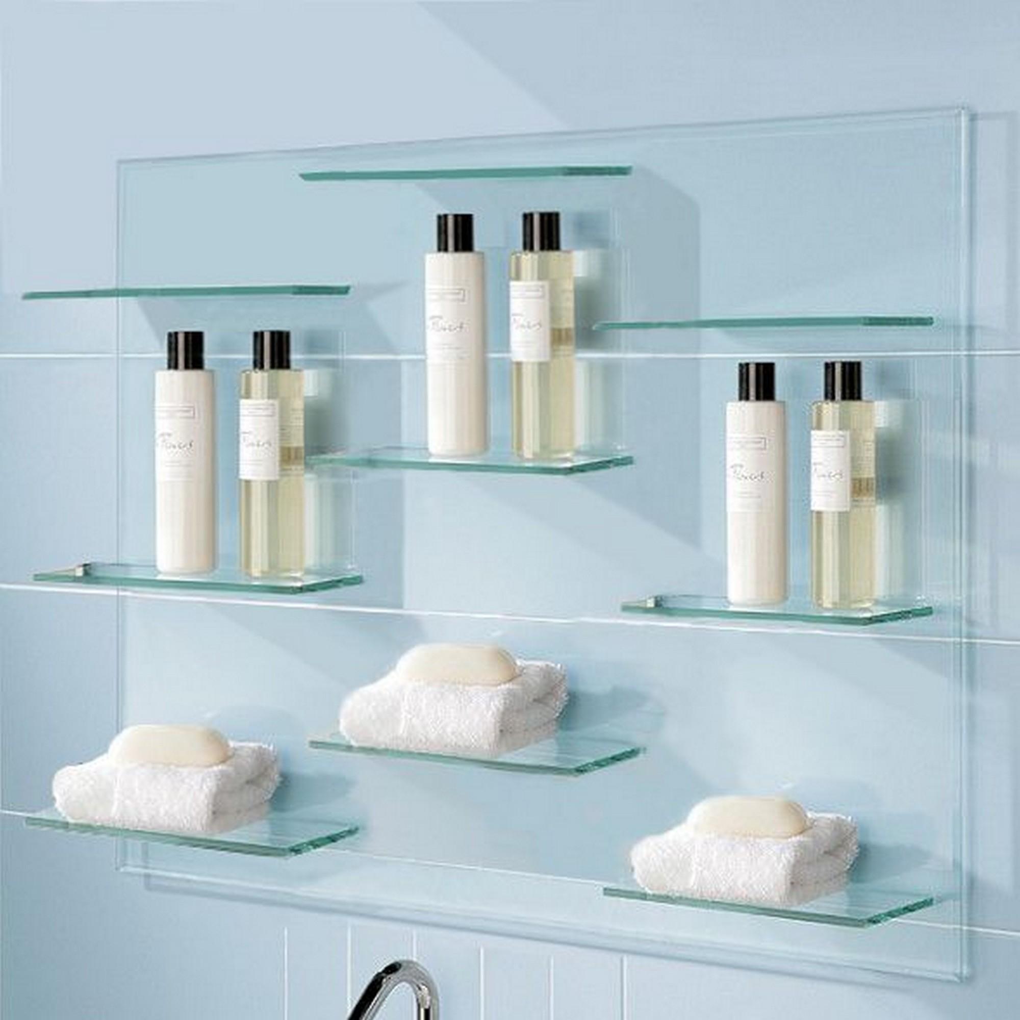 Floating Glass Shelves With Elegant Design For Clean Bathroom Inside Floating Glass Shelves (Image 7 of 15)