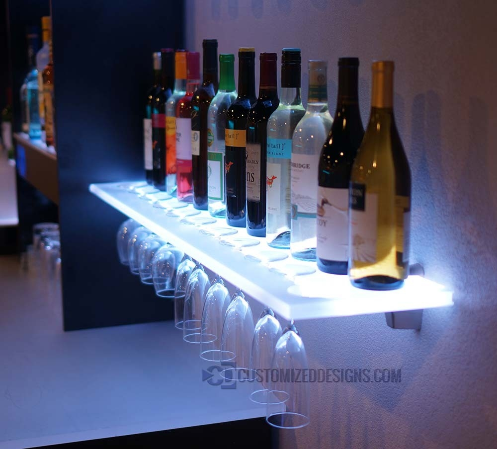 Floating Shelves W Wine Glass Rack Led Lighting Brackets Intended For Led Floating Glass Shelves (Image 2 of 15)