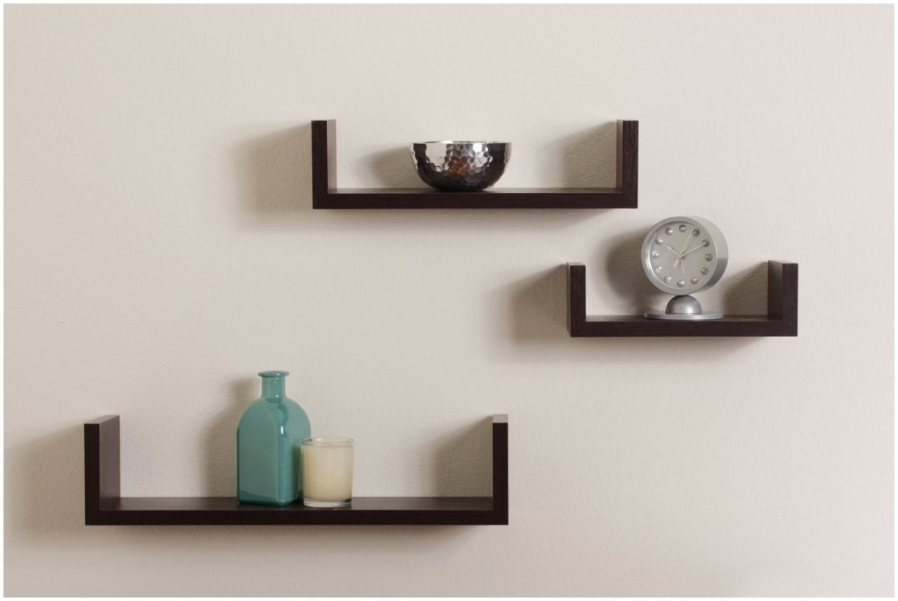 Floating Wall Shelf Brackets Floating Shelves For Crafts Wall 18 Inside Floating Shelf 40cm (Image 4 of 15)