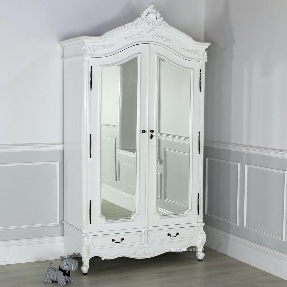 Floor Mirror Jewelry Armoire Wardrobe Closet White Bedroom Inside White Wardrobe Armoire (Image 10 of 25)
