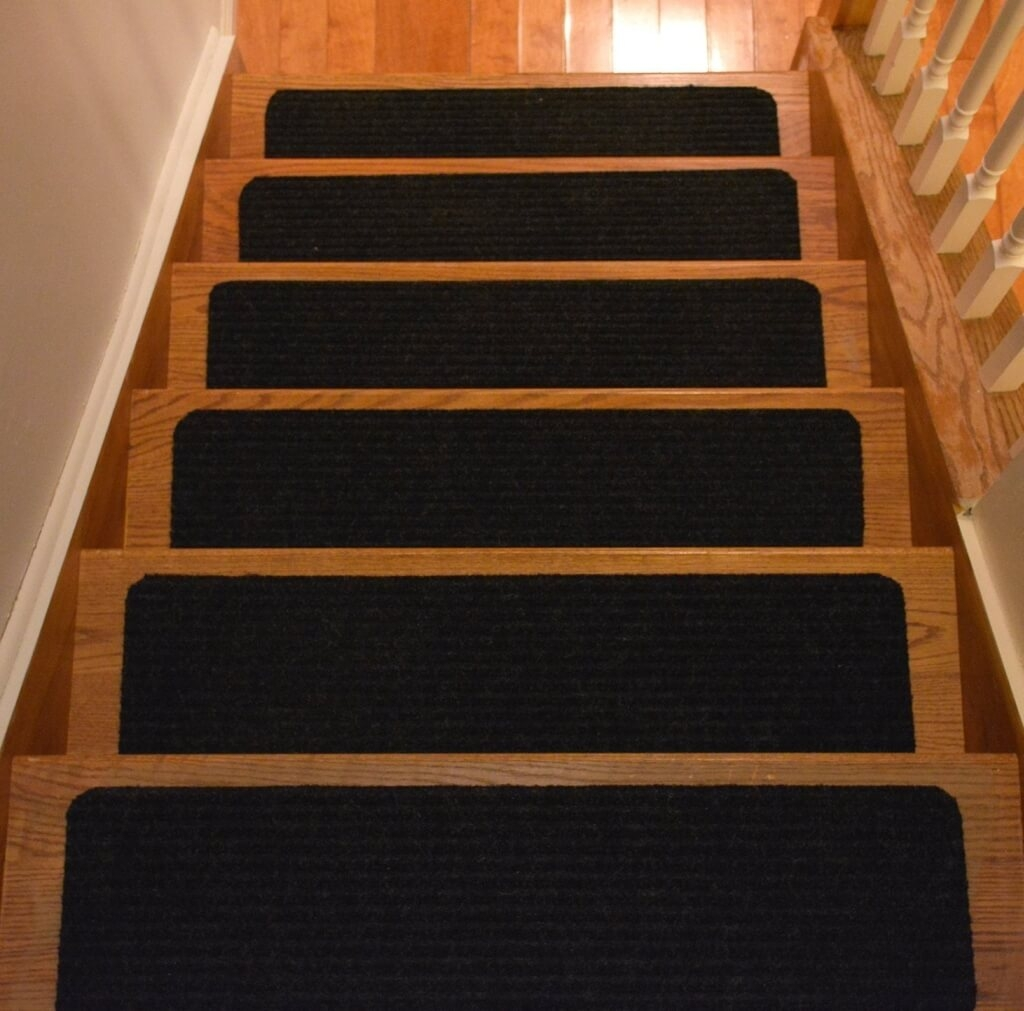 Flooring Modern Gray Self Adhesive Non Slip Stair Treads Stick On Within Adhesive Carpet Stair Treads (Image 8 of 15)