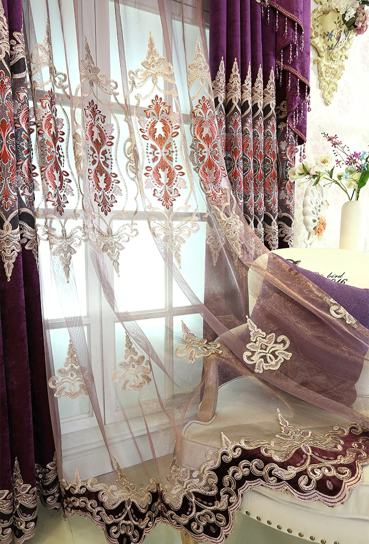 Floral Embroidery Chenille Thermal Luxury Valance Curtains Inside Purple And Gold Curtains (Image 13 of 25)
