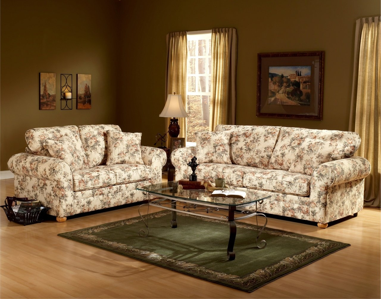 Floral Pattern Fabric Traditional Sofa Loveseat Set Intended For Floral Sofas And Chairs (Image 8 of 15)