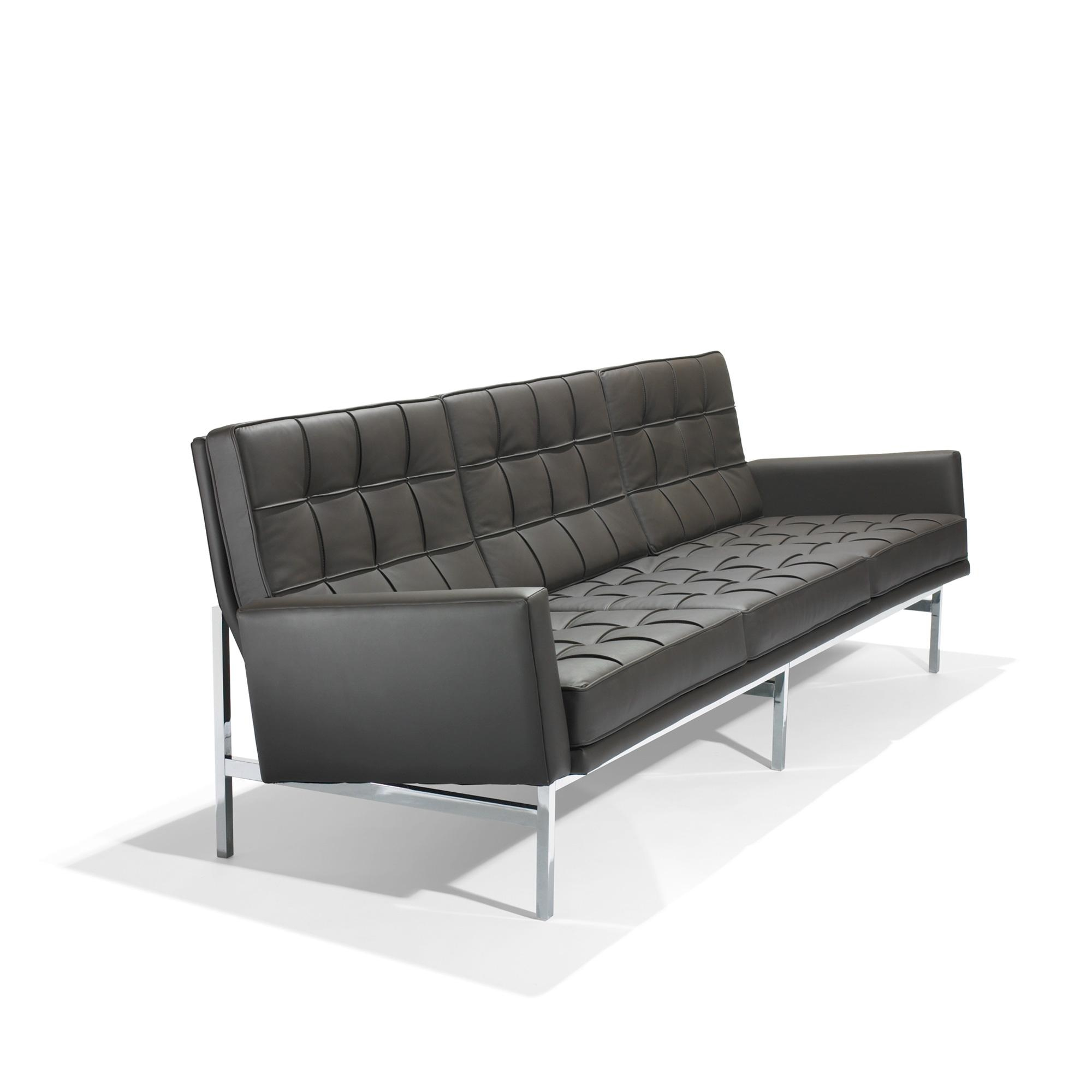Florence Knoll 2577 Leather And Chrome Plated Steel Sofa For Intended For Florence Grand Sofas (Image 5 of 15)