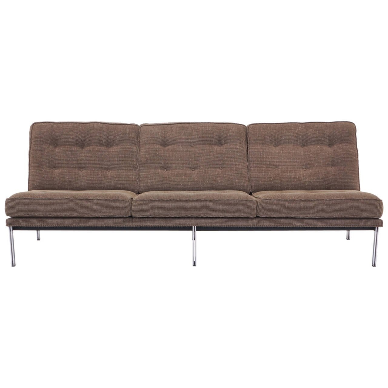 Florence Knoll Parallel Bar Three Seat Armless Sofa At 1stdibs Throughout Florence Grand Sofas (Image 6 of 15)