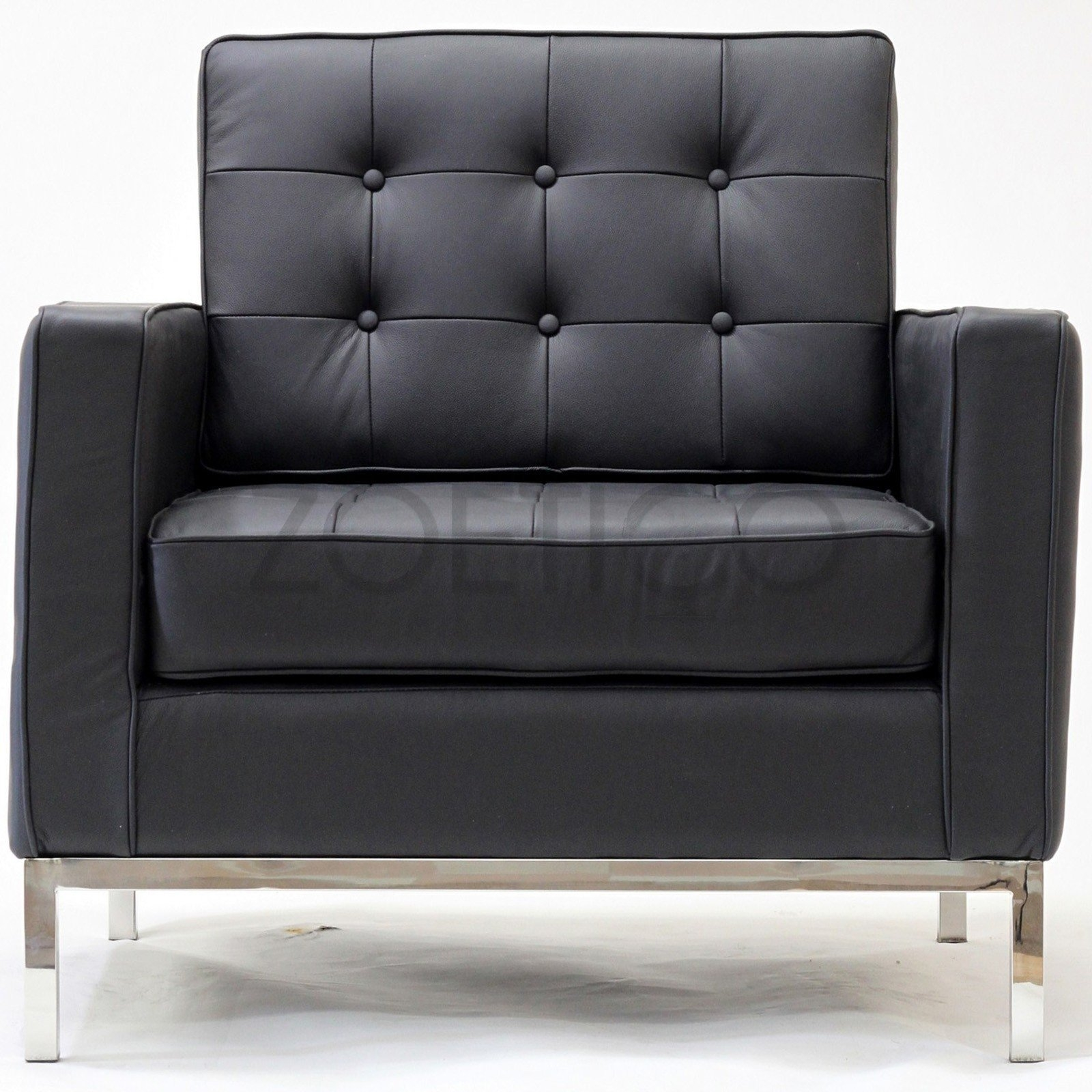 Florence Knoll Style Armchair In Leather Multiple Colors Inside Florence Knoll Style Sofas (View 7 of 15)