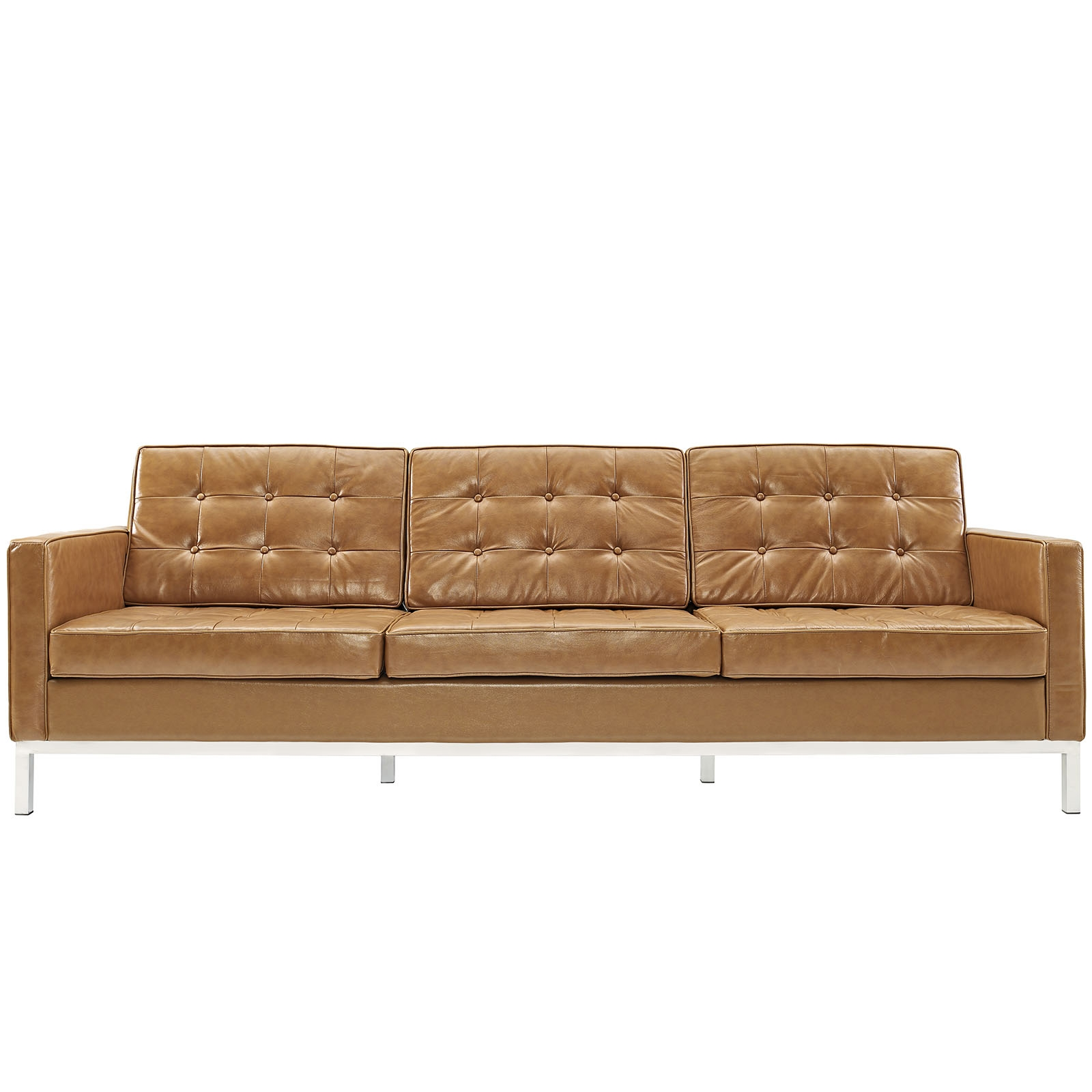 Florence Knoll Style Sofa Couch Leather For Florence Knoll Leather Sofas (Photo 9 of 15)