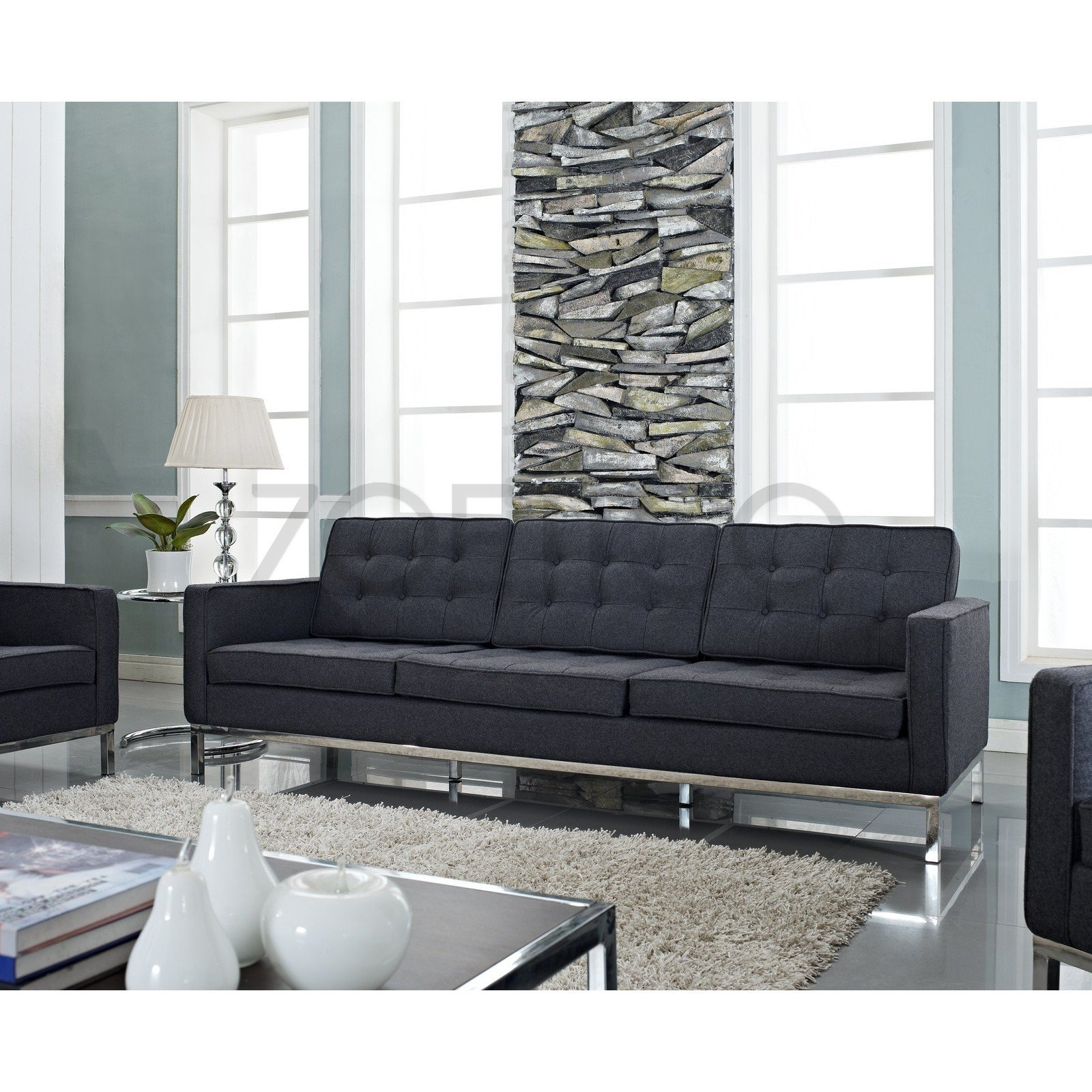 Florence Knoll Style Sofa In Fabric Multiple Colorsmaterials With Florence Medium Sofas (Image 7 of 15)