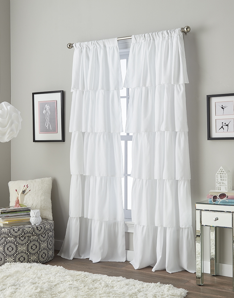Flounced Ruffle Curtain Panel Curtainworks With White Ruffle Curtains (View 22 of 25)