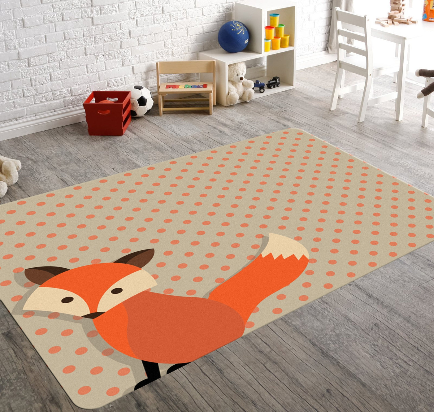 Fox Rug Woodland Nursery Woodland Rug Kids Rug Nursery Regarding Children Rugs (Image 6 of 15)