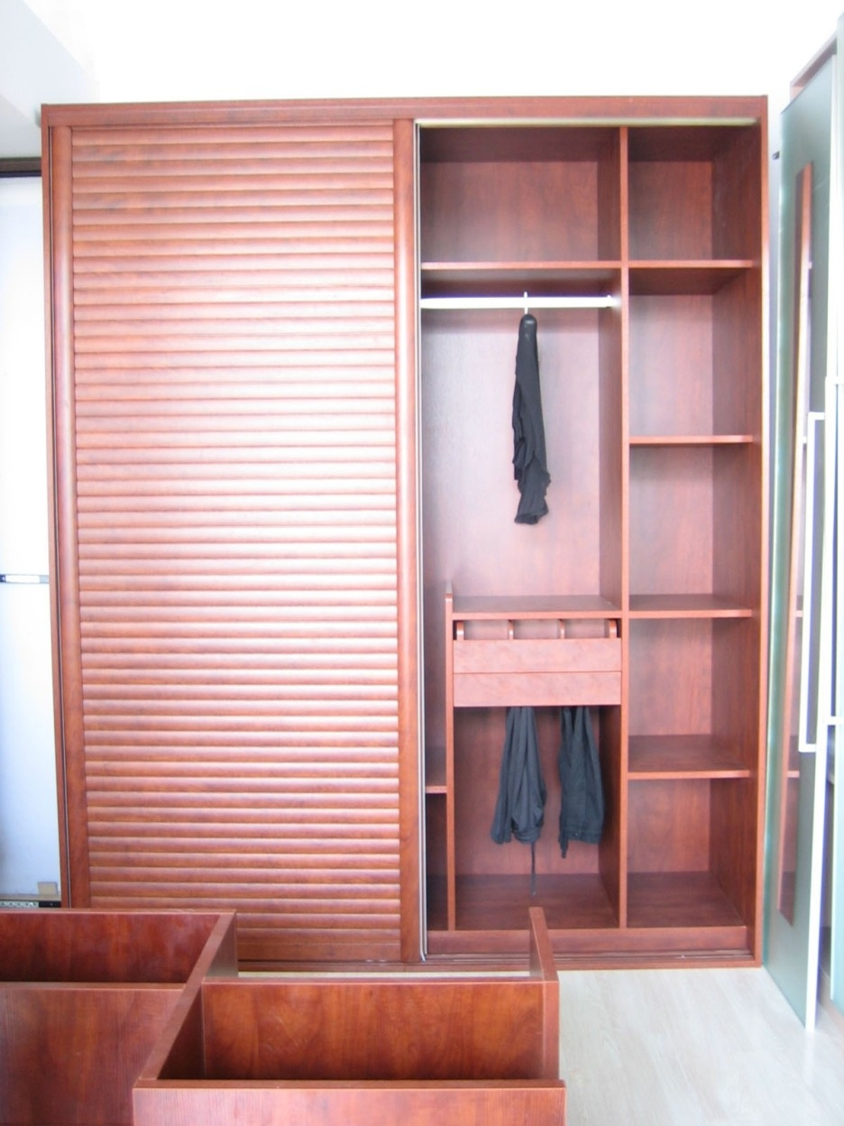 Free Standing Brown Wooden Wardrobe With Many Shelves Inside Throughout Wardrobe With Drawers And Shelves (Image 7 of 15)