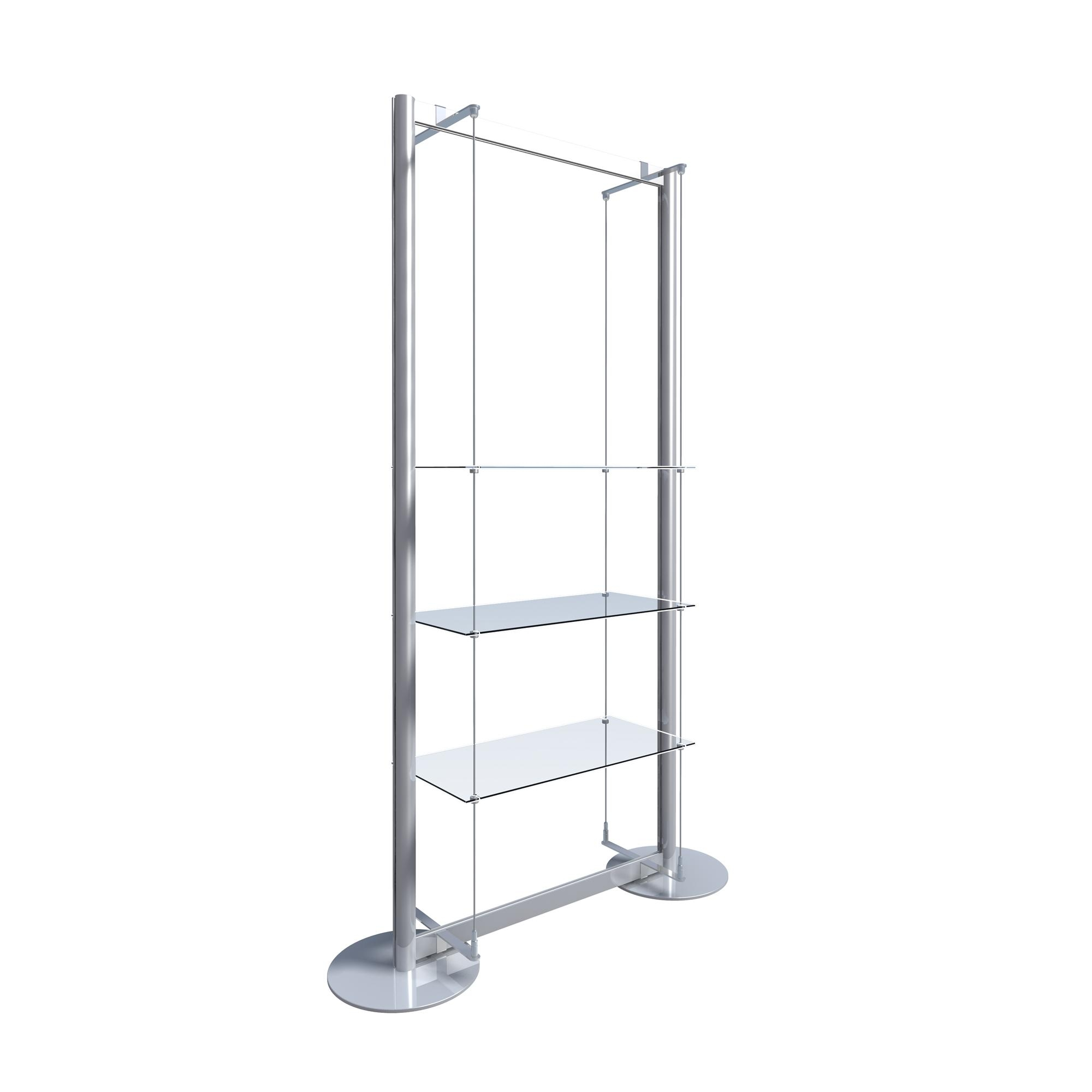 Freestanding Display With 3 Glass Shelves Freestanding Window Regarding Free Standing Glass Shelves (Image 7 of 15)