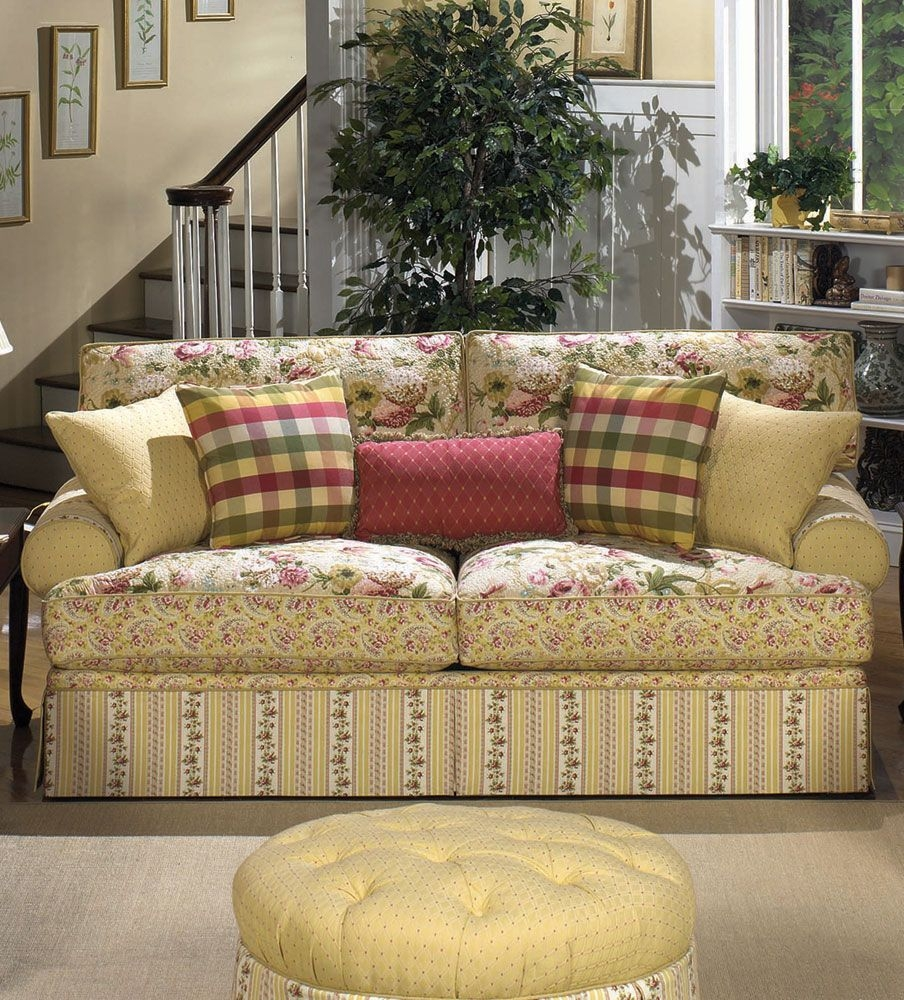 French Cottage Furniture Room Living Room Furniture With Floral Sofas And Chairs (Image 9 of 15)