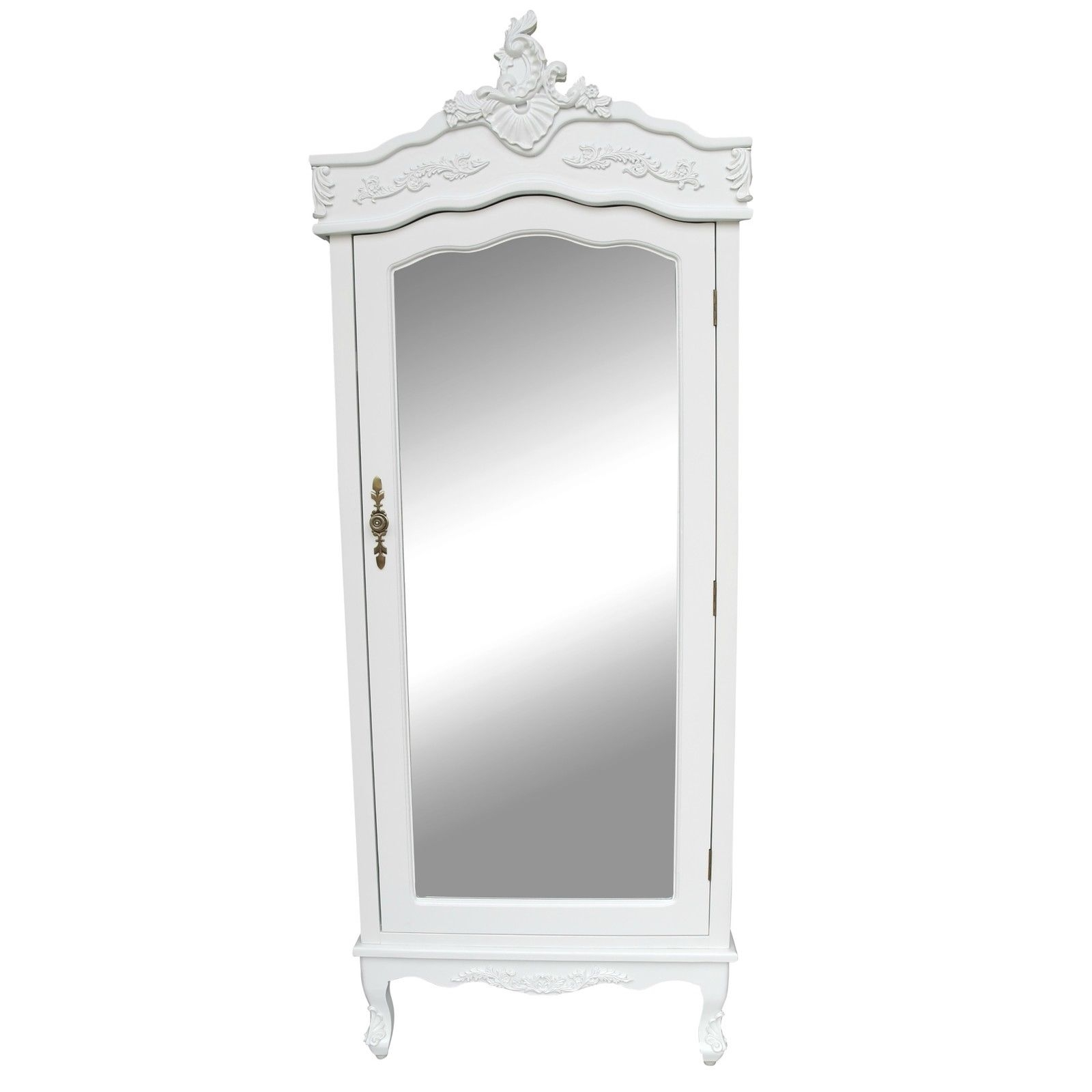 French White Single Door Armoire With Mirrored Door Bedroom Pertaining To White Wardrobe Armoire (Image 11 of 25)