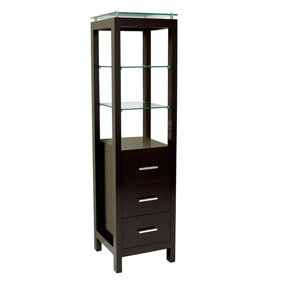 Fresca Fst1008es 60 Freestanding Bathroom Linen Cabinet In Intended For Free Standing Glass Shelves (Image 8 of 15)
