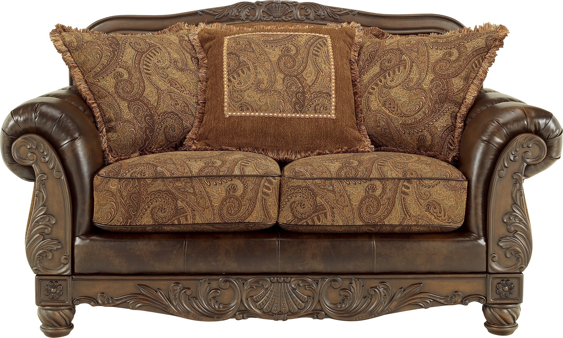 Fresco Durablend Antique Loveseat Ashley Furniture Pertaining To Antique Sofa Chairs (View 12 of 15)