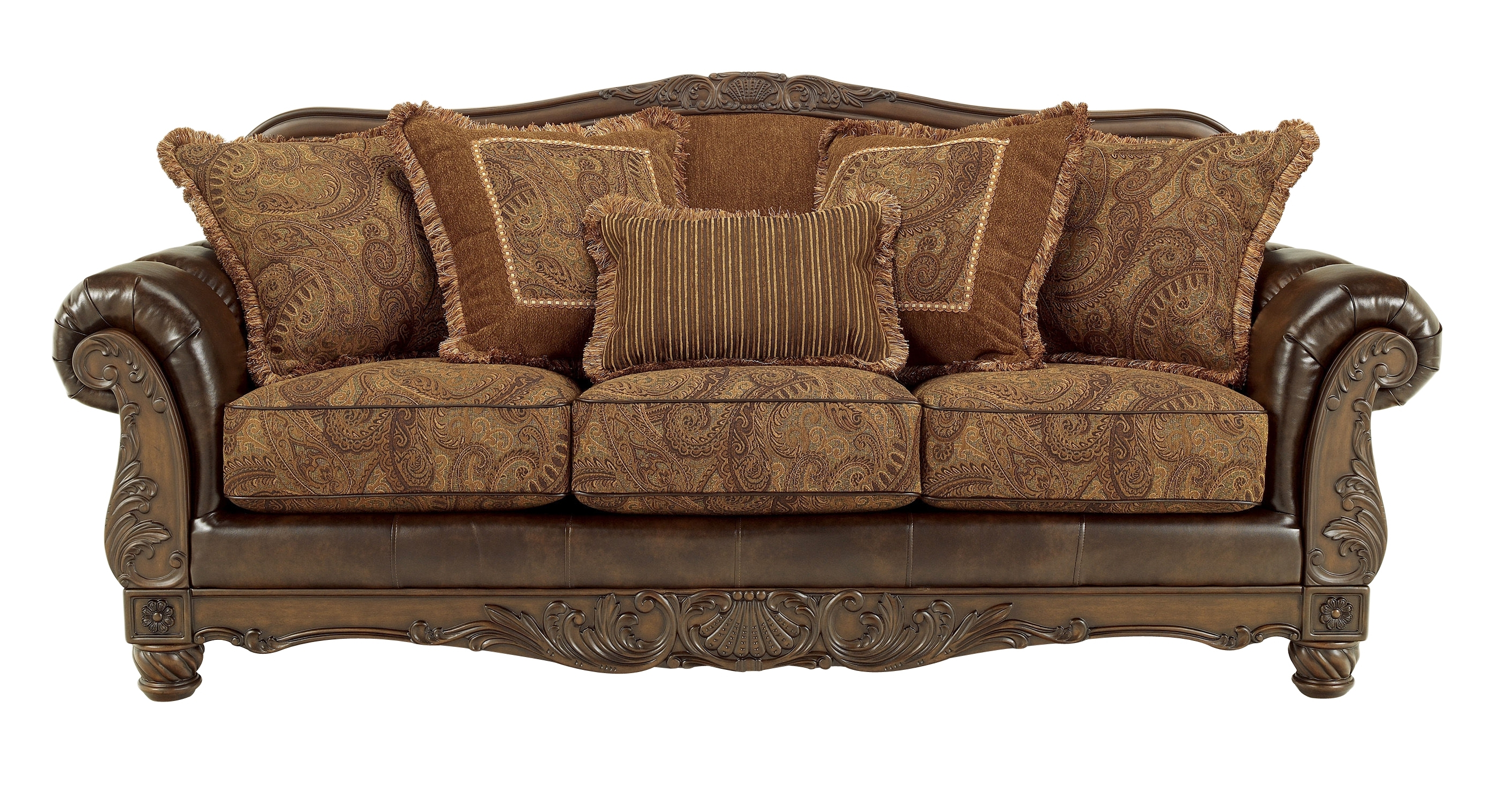 Fresco Durablend Traditional Antique Fabric Sofa Living Rooms With Regard To Antique Sofa Chairs (Image 12 of 15)