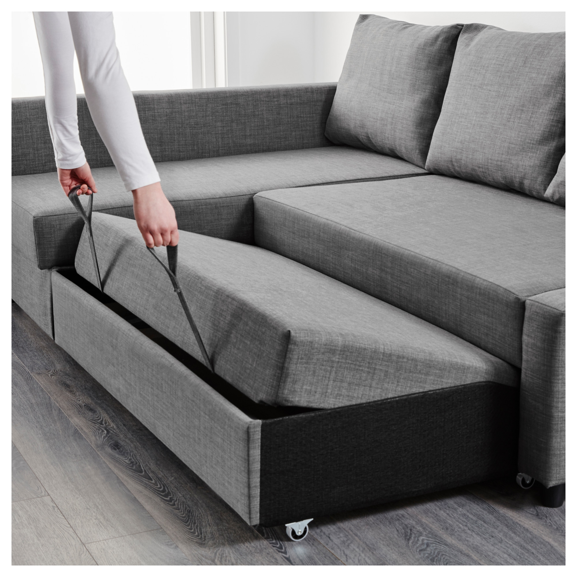 Friheten Corner Sofa Bed With Storage Skiftebo Dark Grey Ikea Intended For Corner Couch Bed (Image 8 of 15)