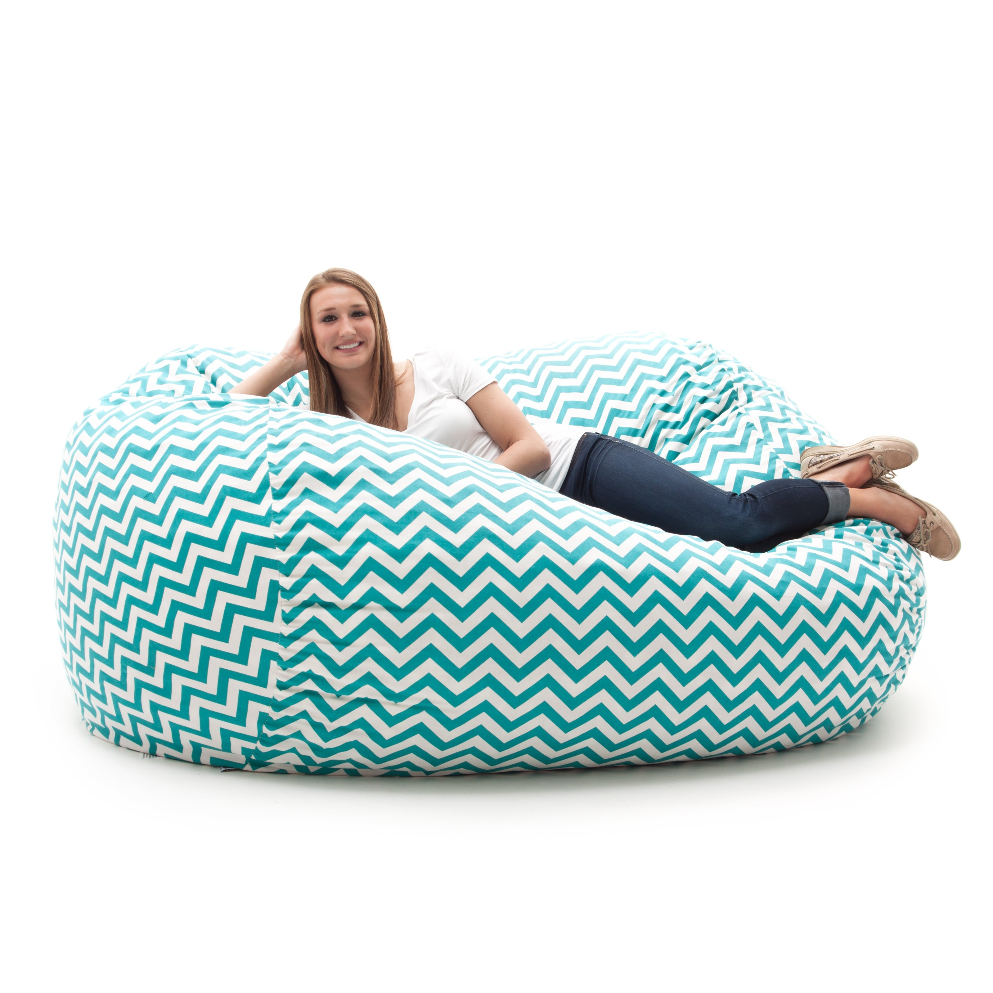 Fuf 7 Ft Xxl Twill Bean Bag Sofa Zig Zag Turquoise Bean Bags Inside Bean Bag Sofas And Chairs (Image 10 of 15)