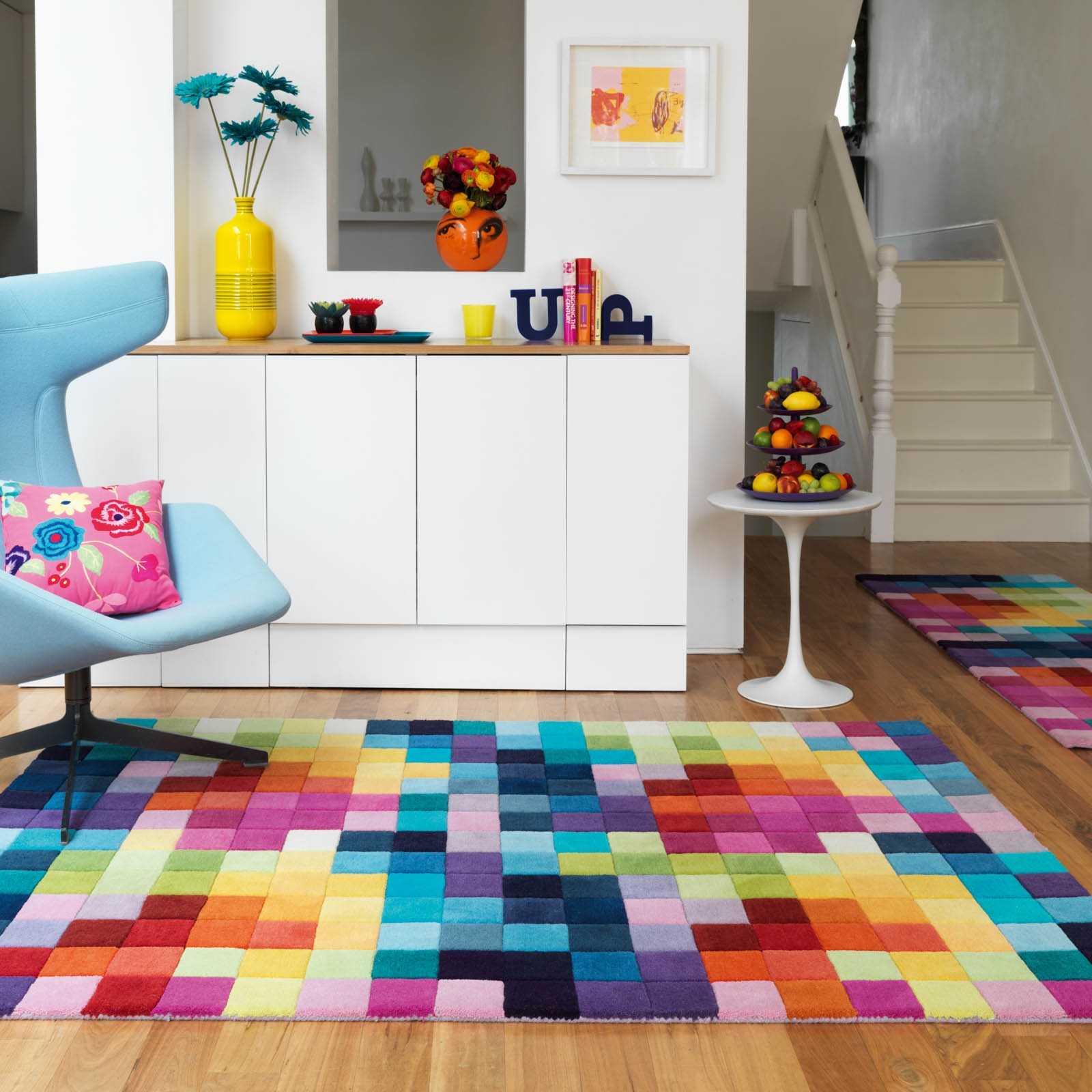 Funk Rugs Multi Coloured Pure Wool Free Uk Delivery The Rug Within Multicoloured Wool Rugs (View 11 of 15)