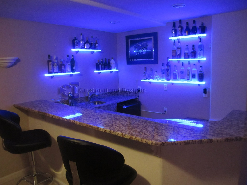 Furniture Awesome Illuminated Glass Bar Shelves Led Shelves W Regarding Illuminated Glass Shelves (Image 1 of 15)