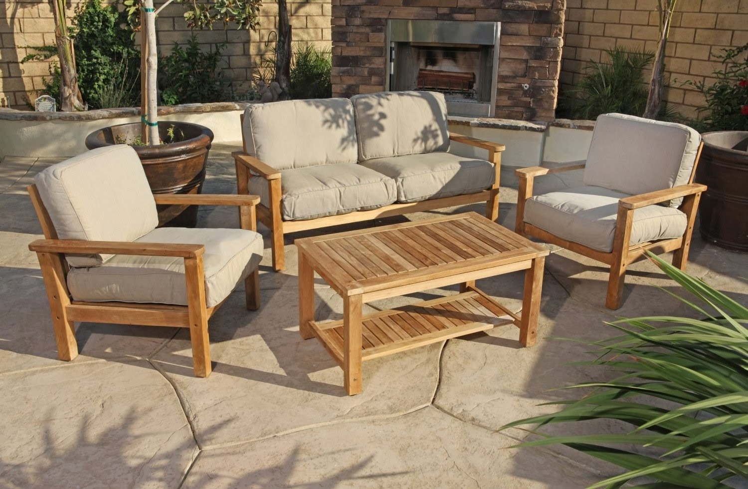 Furniture Chaise Lounge Teak Outdoor Furniture With Cream Cushion Regarding Outdoor Sofas And Chairs (Image 5 of 15)