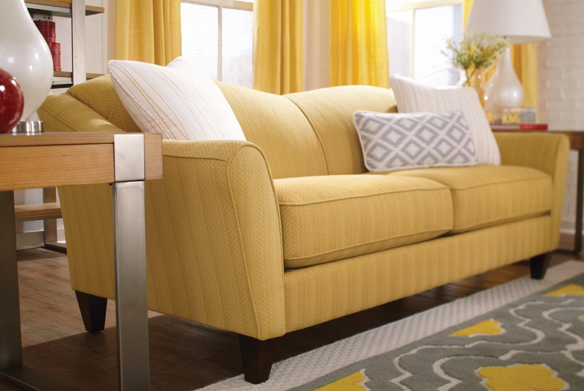 Furniture Lazyboy Sofas Yellow With White Pillows And A Wooden Intended For Lazy Boy Sofas And Chairs (Image 4 of 15)