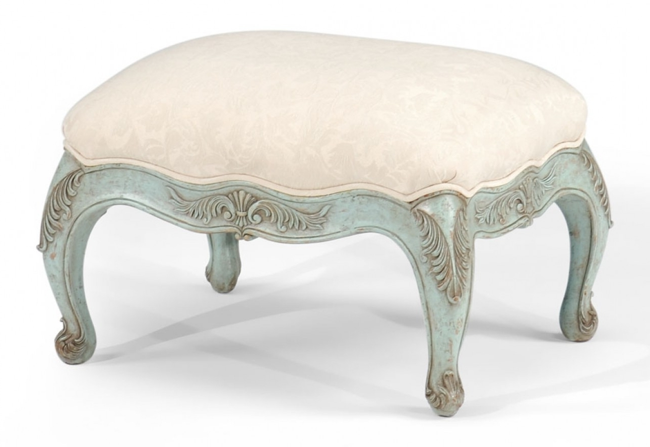Furniture Small Upholstered Footstool White With Design Rustic Throughout Upholstered Footstools (Image 6 of 15)