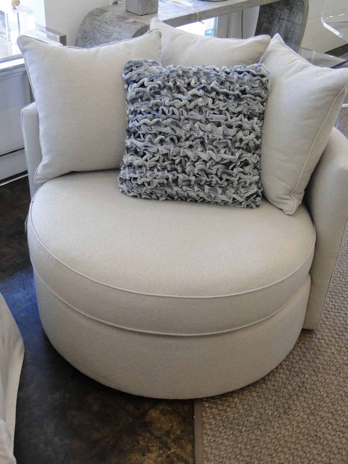 Furniture Sophisticated Oversized Round Swivel Chair With With Round Swivel Sofa Chairs (Image 3 of 15)