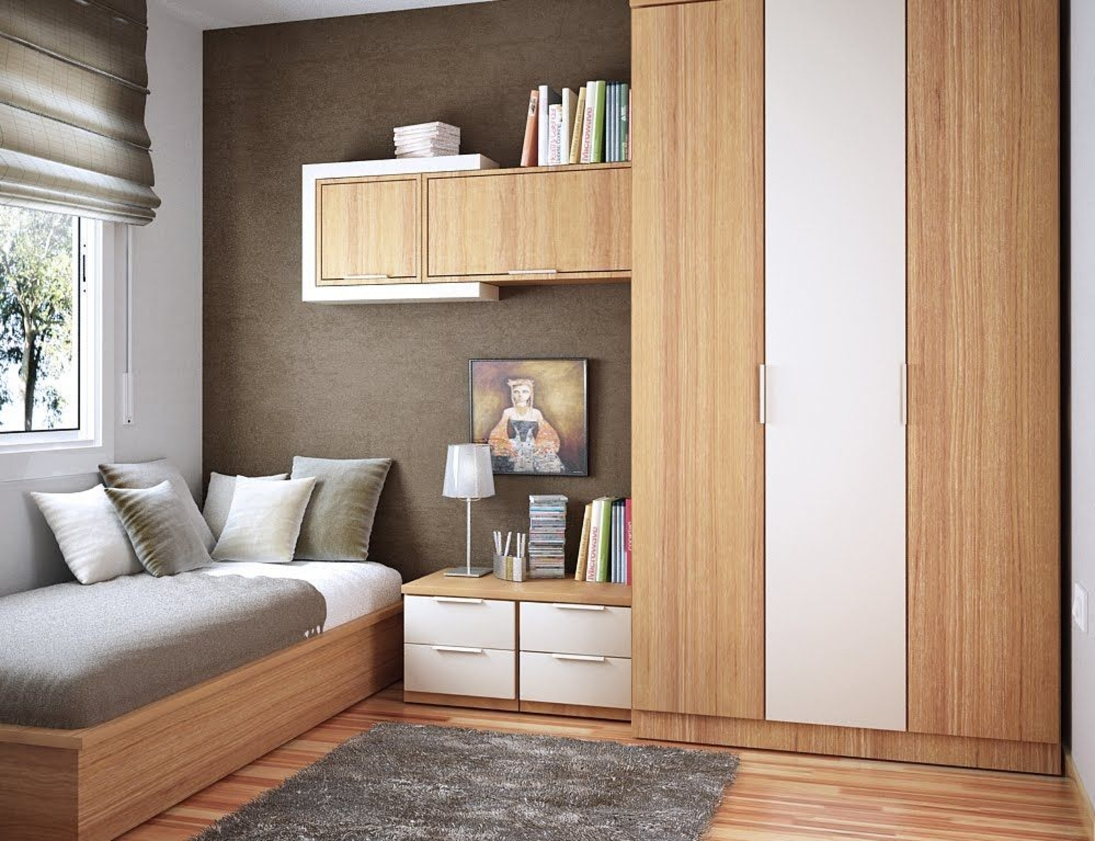 Furniture Space Saving House In Bedroom Feature Wooden Book Intended For Space Saving Wardrobes (View 7 of 25)