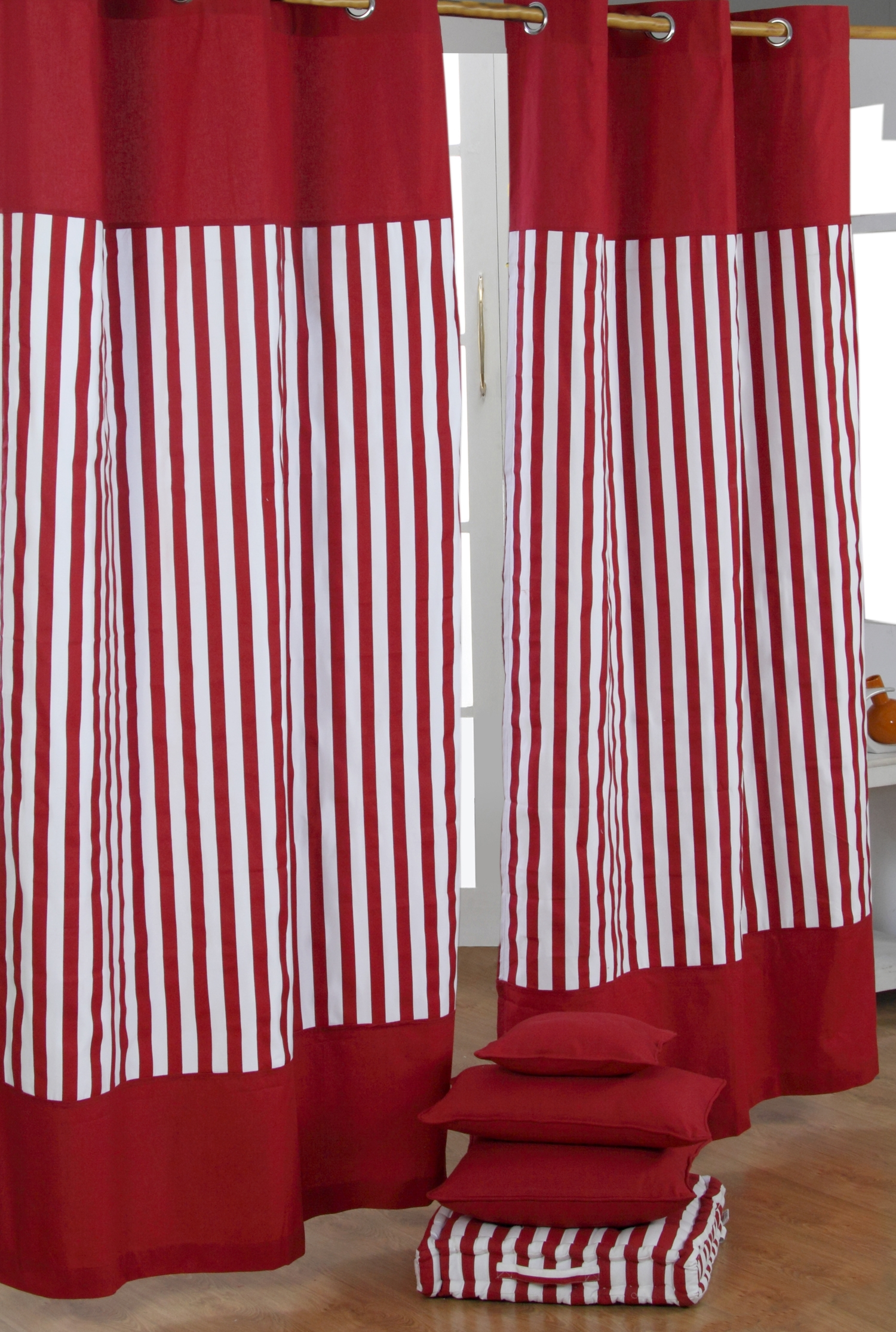Garage Shed Contemporary Window Shade With Horizontal Striped Throughout Stripe Curtains (Image 14 of 25)